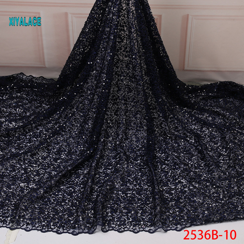 Dark Blue Nigerian African Lace Fabric Organza Newest With Flower Sequins African Tulle Lace For Wedding Party Dress YA2536B-10