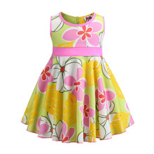 Summer Floral Print Girl Dresses Bow Cotton Baby Girl Dress 2019 New A Line Sleeveless Toddler Girl Dress Children Clothing toddler girl floral dress ladybird pattern print little girl fashion a line summer dress children spring fall princess clothing