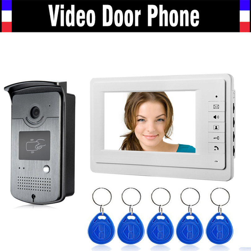 7 Inch Monitor Video Intercom Door Phone Doorbell System 5Pcs RFID Card Unlock Video Doorphone Infrared night vision Camera Kit 7 inch video doorbell tft lcd hd screen wired video doorphone for villa one monitor with one metal outdoor unit night vision