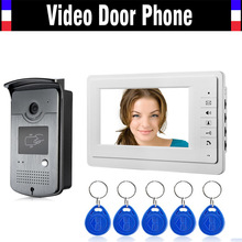 7 Inch Monitor Video Intercom Door Phone Doorbell System 5Pcs RFID Card Unlock Video Doorphone Infrared night vision Camera Kit