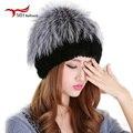 2016 gorros de invierno sombrero de piel para las mujeres de punto piel de conejo rex 100% sombrero con flor de piel de zorro superior tamaño libre de las mujeres ocasionales sombrero W #56