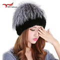 2016 winter beanies fur hat for women knitted 100% rex rabbit fur hat with fox fur flower top free size casual women's hat W#56