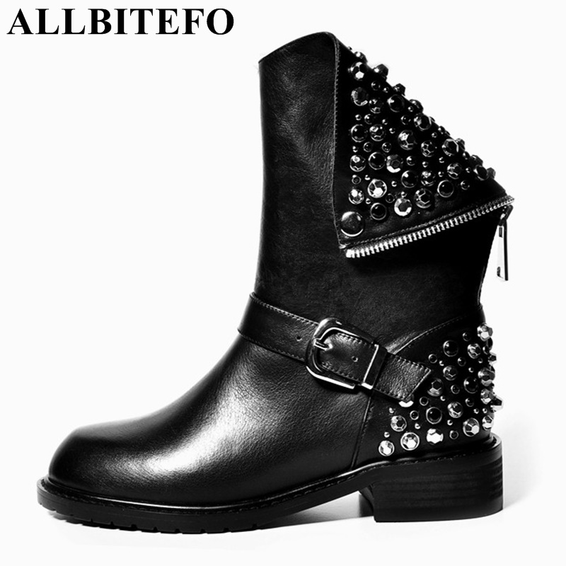 ALLBITEFO fashion PU+ genuine leather boots rivets design autumn winter ankle boots for girls sexy female motorcycle women bootsALLBITEFO fashion PU+ genuine leather boots rivets design autumn winter ankle boots for girls sexy female motorcycle women boots
