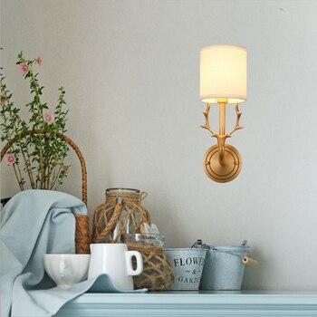GETOP النمط الأمريكي النحاس مرجانية جدار مصباح LED غرفة نوم السرير غرفة المعيشة الدرج الحديثة الأزياء بسيطة تركيبة إضاءة