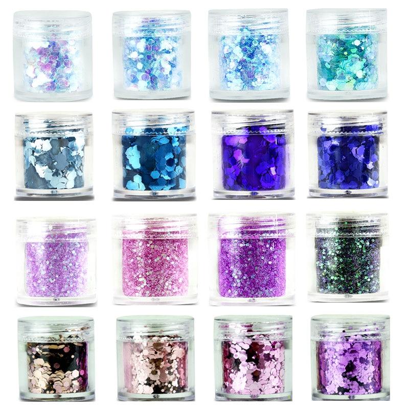 Iridescent Nail Powder Blue: 28Color Nail Glitter Tips Iridescent Blue Pink Purple Nail