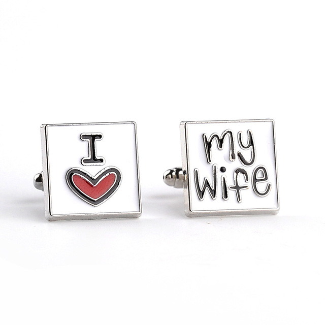 Men S Shirts Cufflinks I Love My Wife English Letter Zinc Alloy
