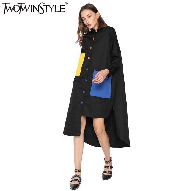 Blouse Shirt Dress Women Patchwork Midi Dresses Long Sleeve Oversized Casual Clothes Big Size