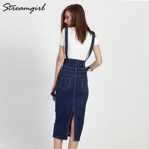 Image 2 - Streamgirl Dài Váy Denim Có Quai Nữ Nút Quần Váy Plus Kích Thước Dài Cao Cấp Váy Bút Chì Denim Váy Nữ