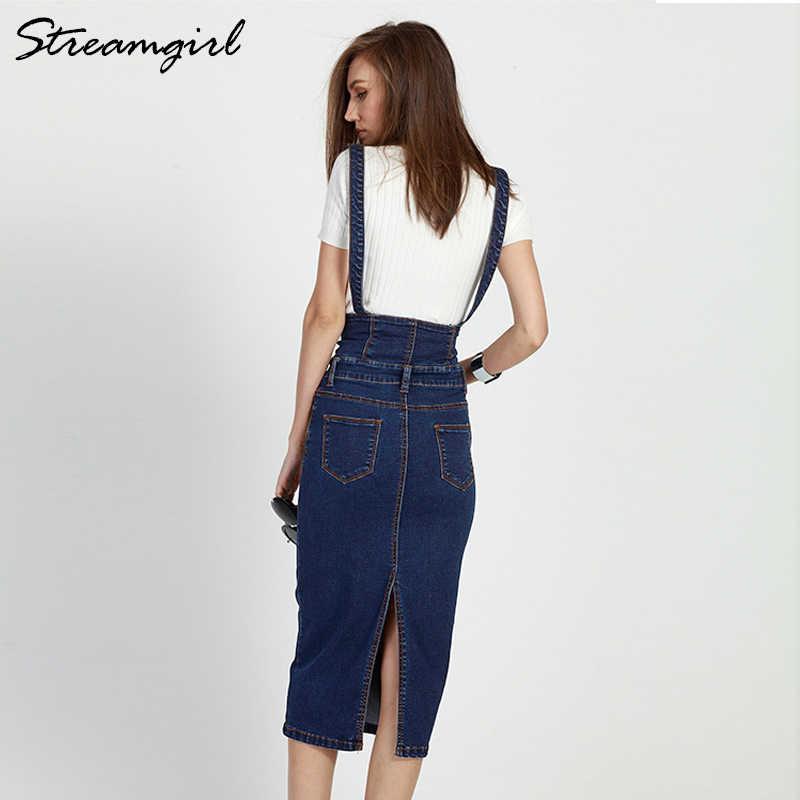 9b4250edc4f ... Streamgirl длинная джинсовая юбка с лямками Для женщин Кнопка джинсы  Юбки Плюс Размеры длинные Высокая талия ...