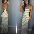2016 Fashion Dress Summer Style Sexy Striped Bodycon Slim Dress Backless Sleeveless Casual Women Elegant Party Maxi Long Dresses