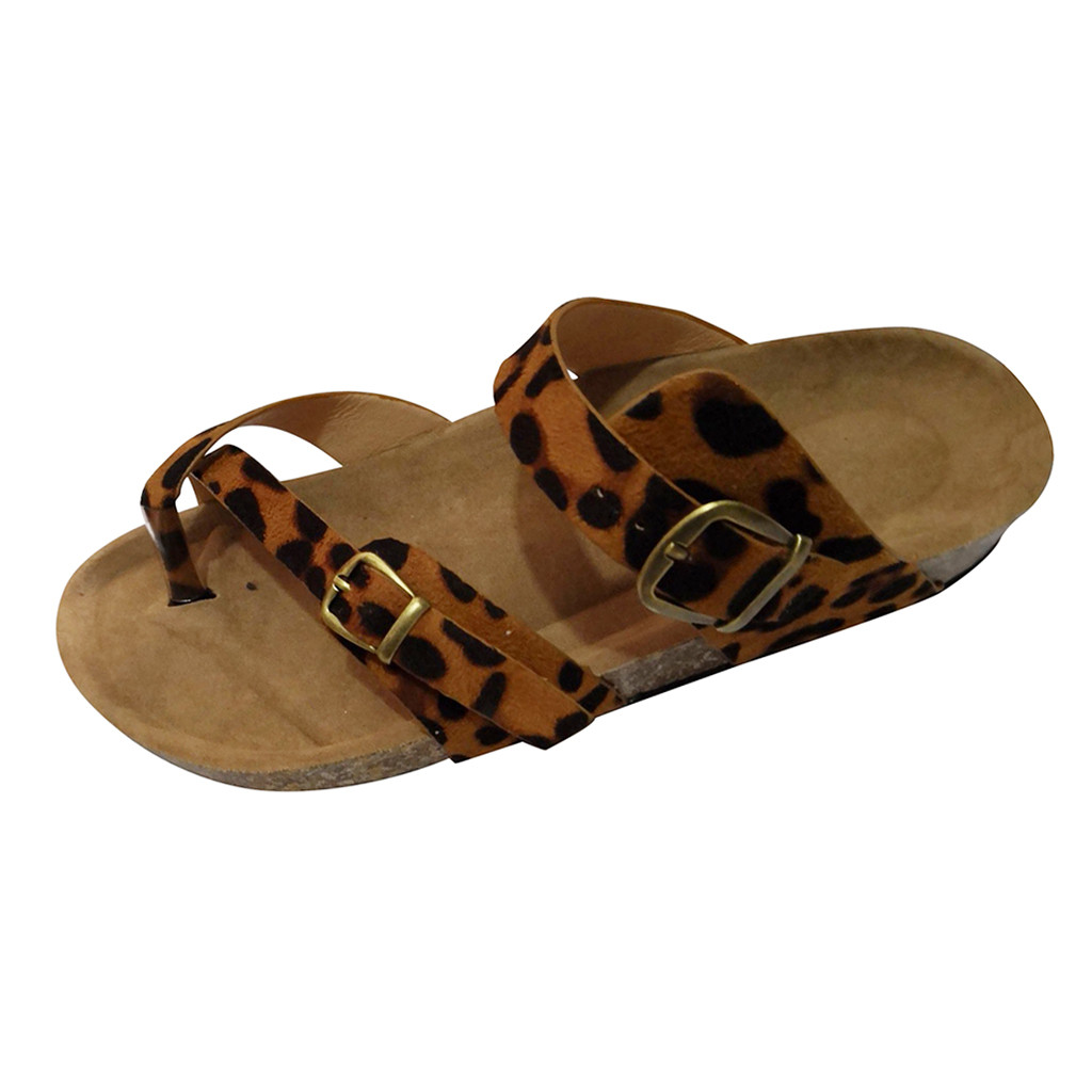 d82e626b69b5 2019 Women s Slippers Summer Beach Casual Shoes Retro Leopard Print Flat  slides Thick Soled Cork Slipper Fashion Flip Flops Hot-in Slippers from  Shoes on ...