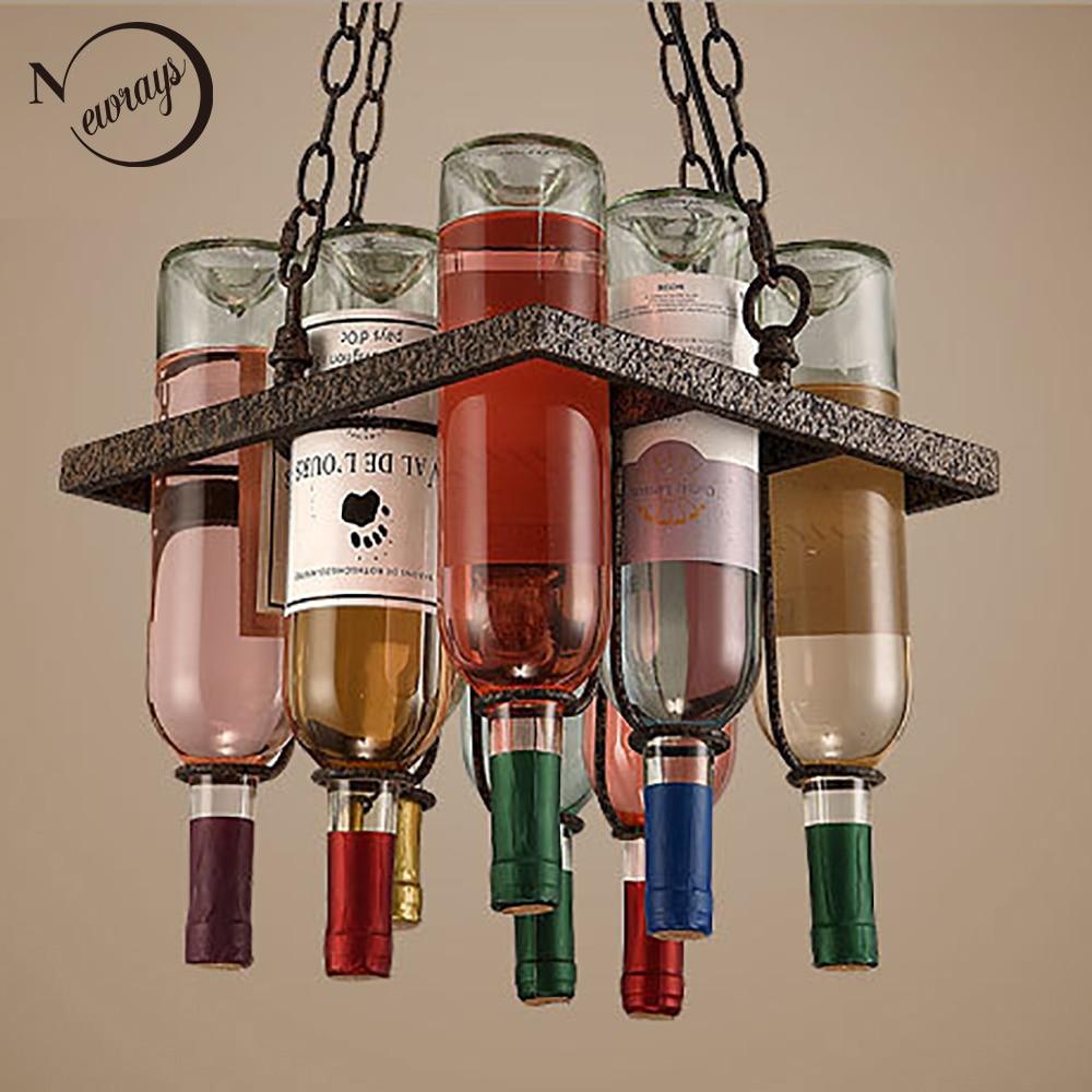 Buy recycled vintage wine bottle led ceiling pendant lamps e27 light modern for - Wine bottle light fixtures ...