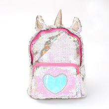 Female backpack unicorn plush sequin shoulder bag student large capacity cartoon cute bag travel backpack