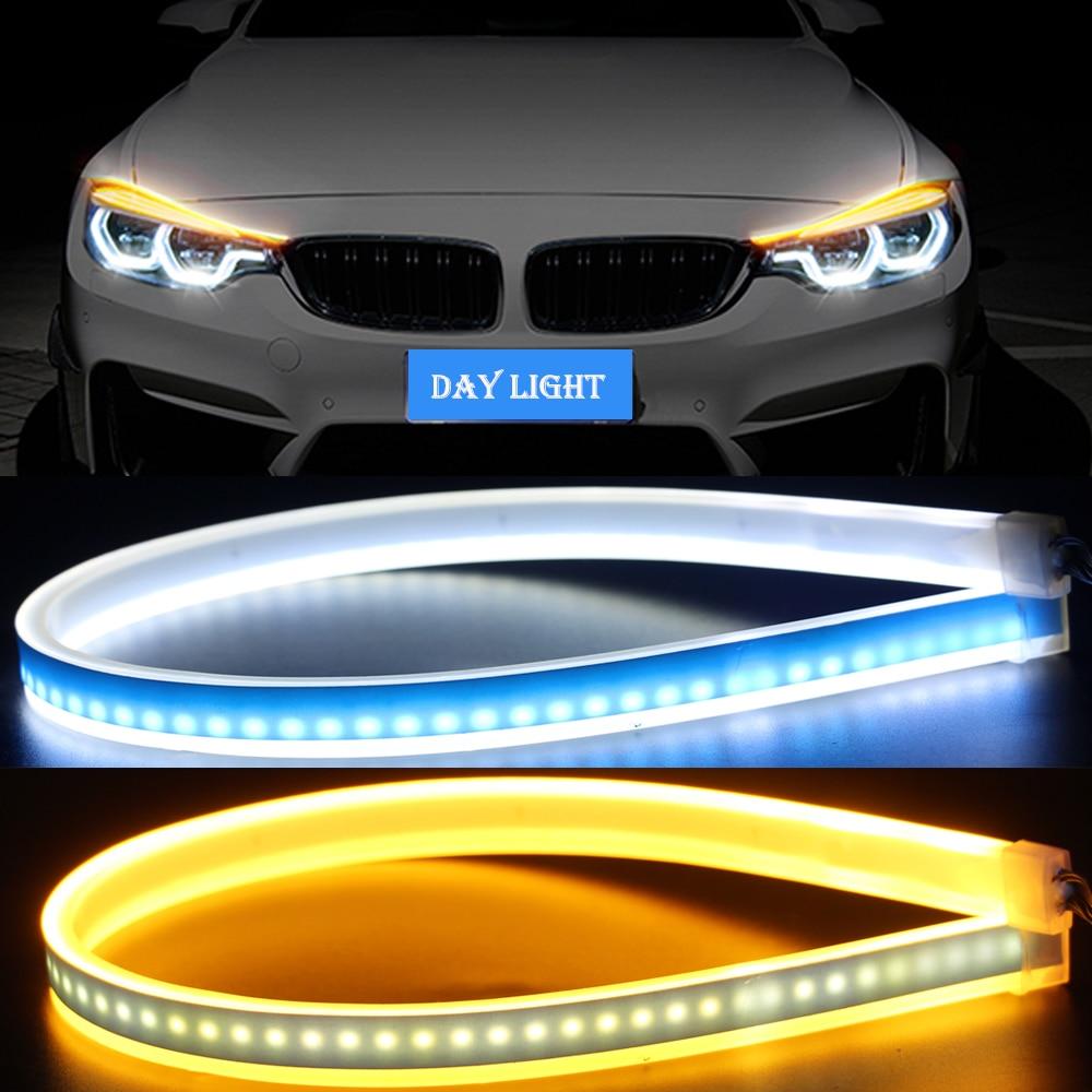 45cm 60cm Slim Flexible Headlight Strip Car Daytime Running Lights Turn Signal Lamp LED DRL Strip Running Day Light Tear Strip in Car Light Assembly from Automobiles Motorcycles