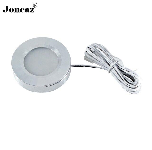 2 pcs lot Led under cabinet light DC12V for kitchen closet round lamp 2 meter cable 3.5W smart super Joneaz