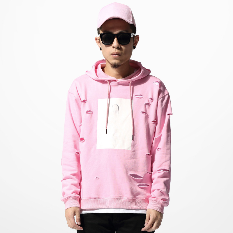 Phanteen Pink Color Man Hoodie Ripped Hole Hooded Loose Pullovers ...