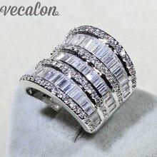 Mujeres de Lujo anillo de diamantes Simulados Cz Joyas Valiosas Vecalon 925 Engagement wedding Band anillo de Plata Esterlina para las mujeres Regalo