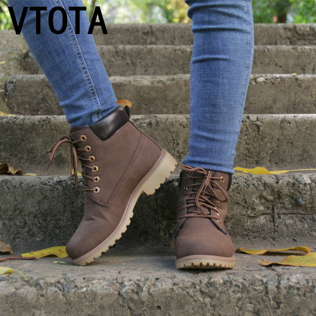 e1b2e50463a VTOTA Women Winter Boots Black Leather Women Ankle Boots Fashion Warm Female  Low Heel Squred Boots Lace Up Martin Snow Boots J47