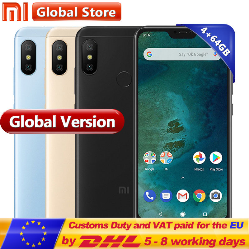 Global Version Originale Xiao mi mi A2 Lite 4 gb RAM 64 gb ROM SmartPhone Snapdragon 625 Octa base Double caméra 5.84 Plein Écran
