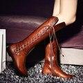 C2136 tamanho Grande 34-43 mulheres botas de marca de moda senhora outono inverno na altura do joelho botas de cano alto motocicleta botas de senhora sapatos