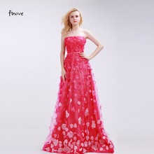 Finove Rose-Red Bridesmaid Dresses Romantic Appliques Fashionable Strapless 2017 New Sweep Train A-Line Prom Dresses Party Gowns