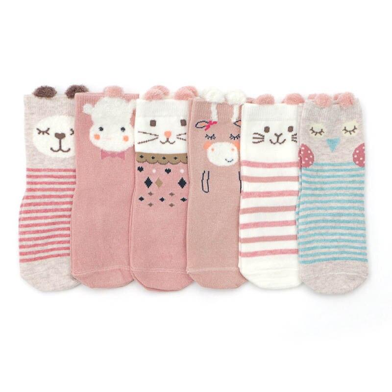 6 Pairs/Pack 2019 New Cartoon Children's Socks Cotton Stripe Anti-skid Socks For Babies Aged 1-3 Non Slip Kids Baby Socks