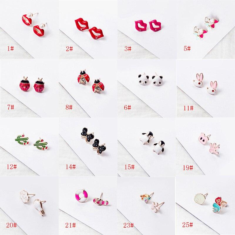 Fruit Earrings Jewelry Ladybug Penguin Cartoon Cute Enamel Gift Women Animal for Party