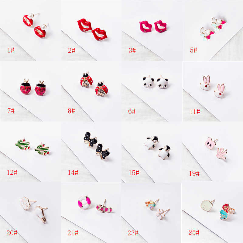Enamel Cartoon Animal Fruit Earrings Cute Ladybug Penguin Panda Earrings for Women Party Birthday Earrings Jewelry Gift