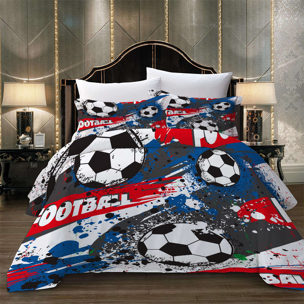 Sports Football Cartoon Bed Linen Set Quilts Bedding Set Duvet Cover Pillow Case Single Double Twin Full Queen King Soft