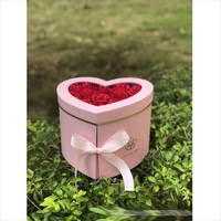 w9849 Valentine double layer rotating heart shaped flower gift box PVC window decoration flower love gift box
