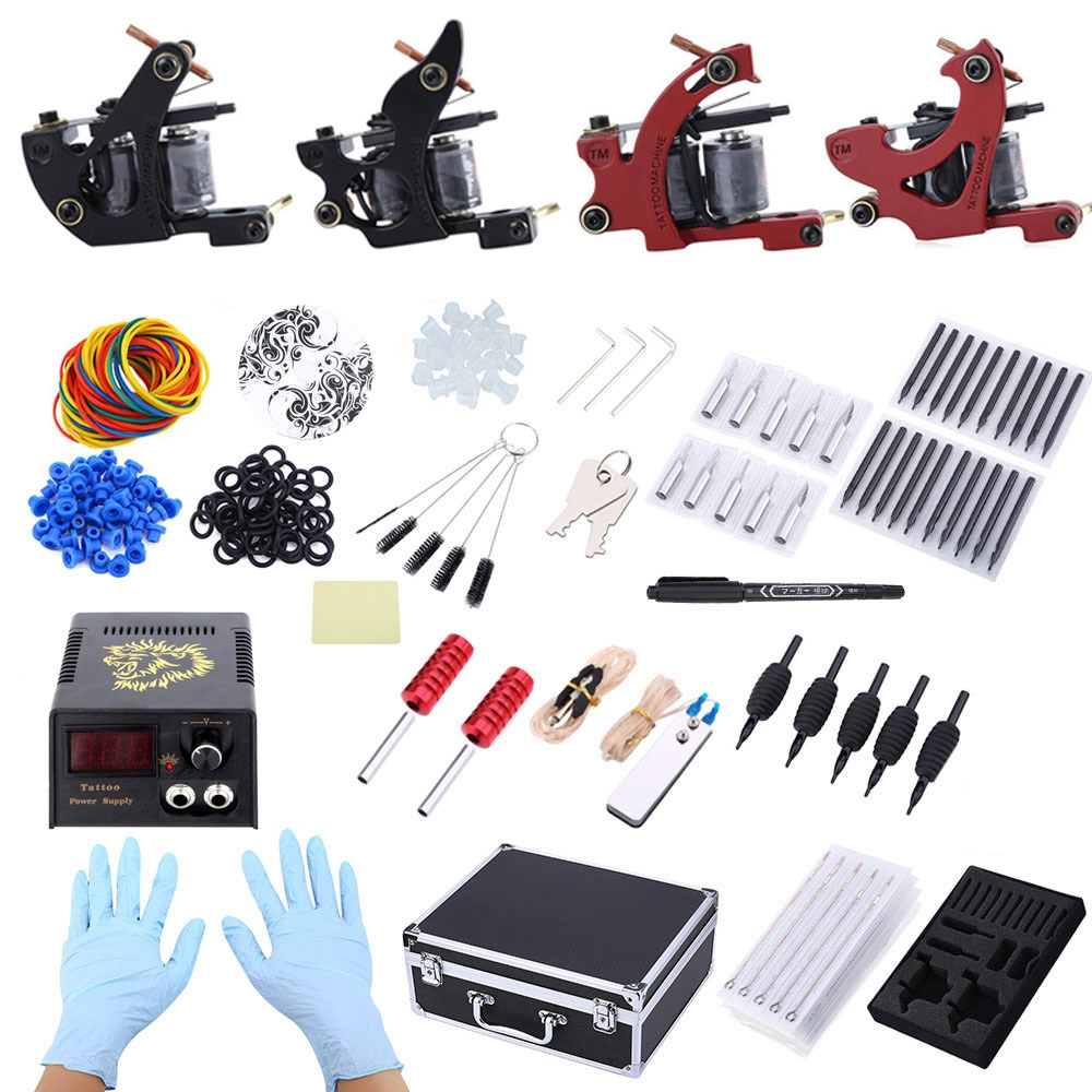 Professional Complete Tattoo Kit 4 Machine Guns Shader Liner Needle Tips Power Supply with Storage Body Art Tattoo Gun Tool Kit professional tattoo kit machine liner shader ink power needle accessories professional tattoo artist tattoo machine set eu plug