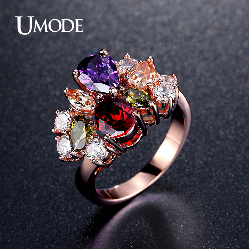 UMODE Vintage Multishaped And Multicolor Shiny CZ Stones Cocktail