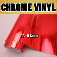 CHROME RED Vinyl Wrap Sticker Decal Red Chrome Wrap Sheet Air Bubble Free For Car Wrapping