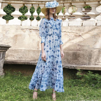 XF Princess Queen Same Paragraph High Quality British Noble Vintage Dress Summer Women Blue Rose Print 1/2 Sleeve Long Dresses
