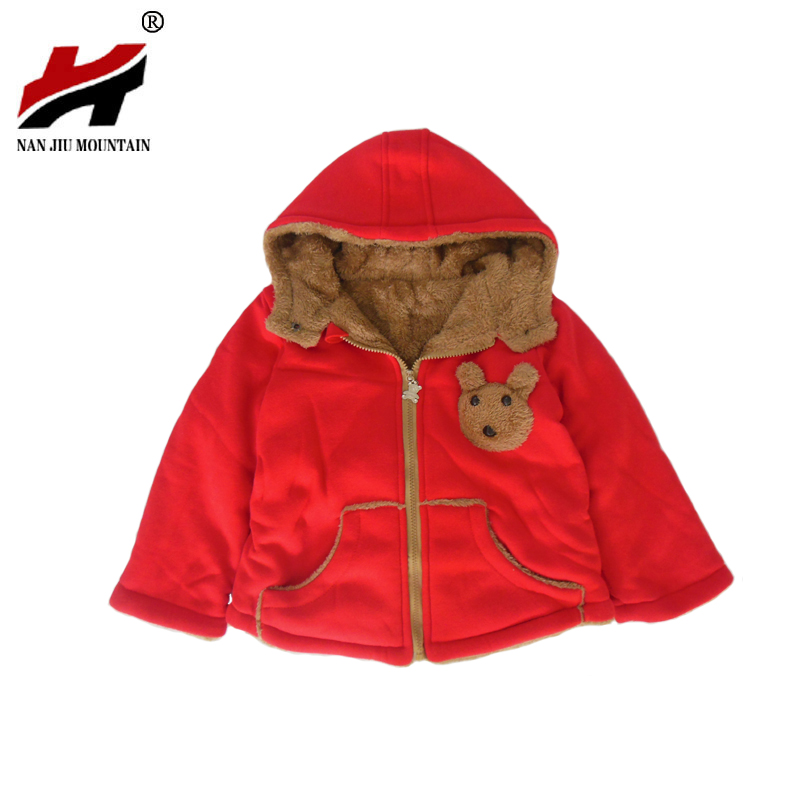 Cartoon Bear Children Winter Outwear Boys and Girls Thick Cotton Hoodies Infant Baby Cashmere Zip Sweater 1-2-3–4-5-6 Years Old