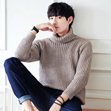 2017 Men Autumn Wool Knitted Turtleneck Sweater Pullover Striped Jersey Hombre Warm Solid Fashion Korean Loose Male Clothing