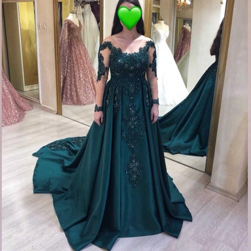 2019 כהה ירוק שמלות נשף עם שרוולים ארוכים אפליקציות חרוזים אירוע מיוחד מסיבת שמלת קפלת רכבת רויאל פורמליות נשף שמלה