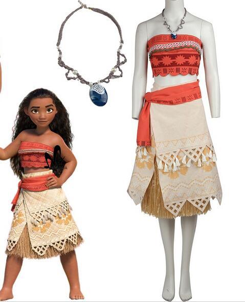 polynesia princess moana cosplay costume carnival christmas halloween costumes movie moana dress with free necklace - Christmas Movie Costumes