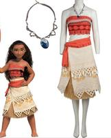 Polynesia Princess Moana cosplay costume Carnival Christmas Halloween costumes movie Moana dress with free necklace
