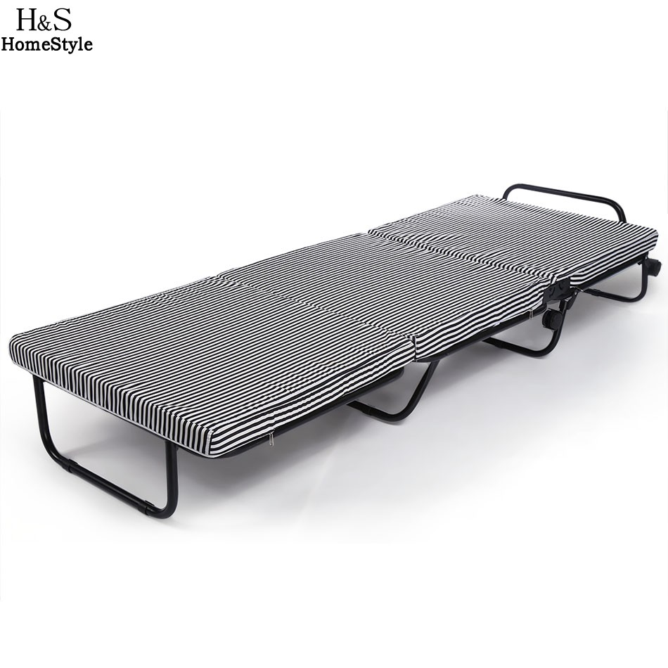 Homdox Portable Bed 30*78 inch Tri-Folding Foldable Rollaway Metal Bedstead Foam Mattress Black and White Stripes 2016 hot sale factory price hotel extra folding bed 12cm sponge rollaway beds for guest room roll away folding extra bed
