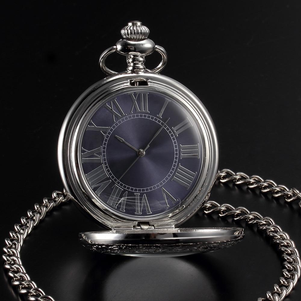mechanical hand wind POCKET watch silver-4