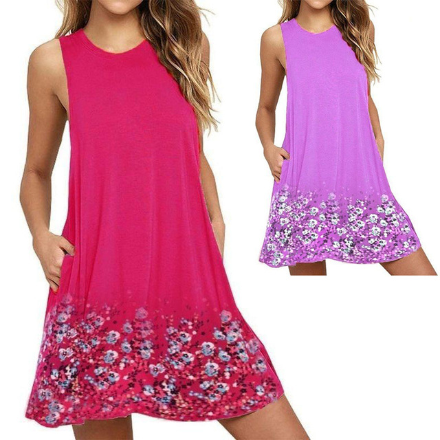 Plus Size Women Dress Summer Casual O-Neck Sleeveless Print Beach Dress Women Tank Dress Vestido Female Loose Dress 4XL 5XL 6XL 3