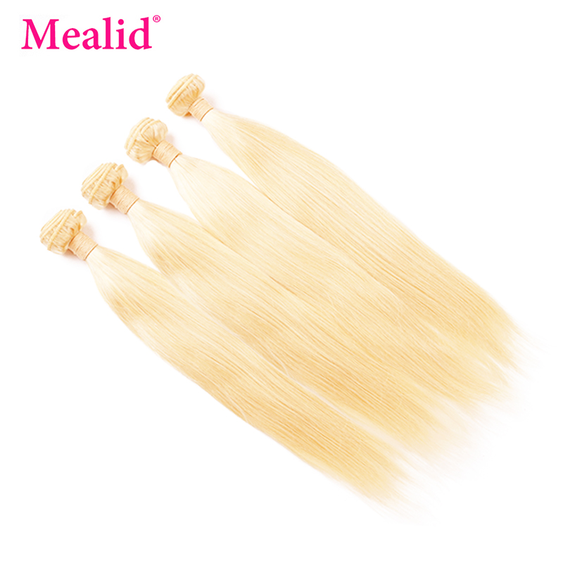 Mealid Peruvian Hair Bundles Remy Straight Hair 4 Bundles 613 Blonde Bundles 8-26 Inch Hair Human Weave Bundles ...