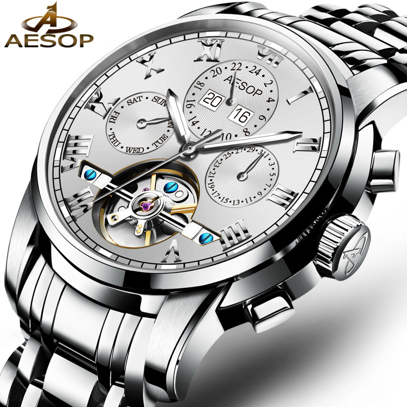 AESOP Watch Men Automatic Mechanical Wristwatch Top Brand Male Clock Hollow Skeleton Waterproof Relogio Masculino Hodinky Box 27 aesop brand fashion watch men automatic mechanical wristwatch hollow waterproof tungsten steel male clock relogio masculino 46
