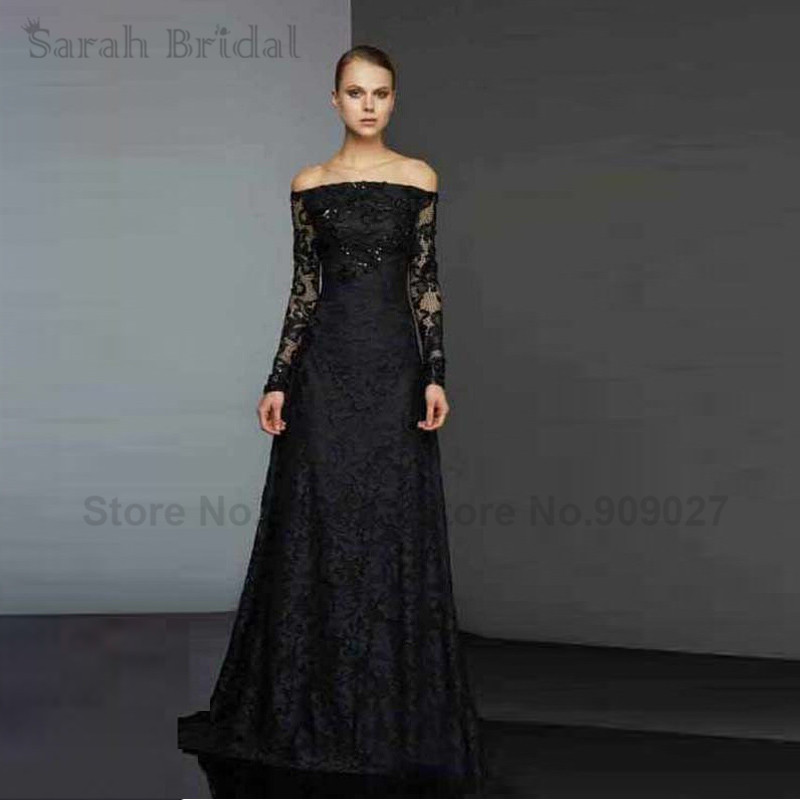 2016 New Evening Dress Long Sexy A Line Elegant Black Lace Evening