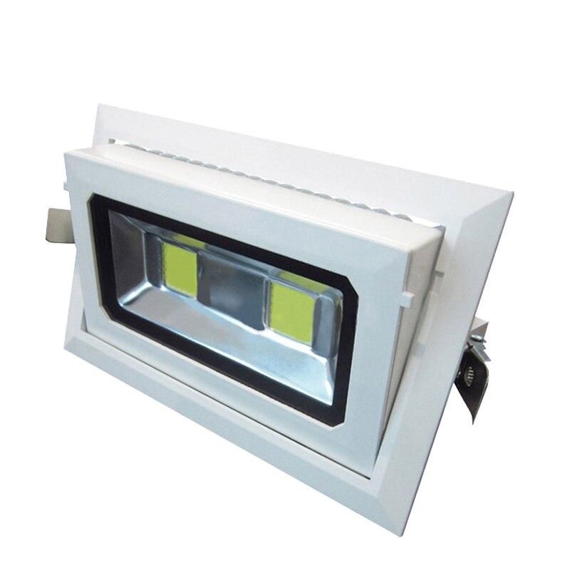 4pcs/lot LED Downlight 40w 50W COB Rectangular Recessed Ceiling Down Light Rotatable Adjustable Downlight Indoor Lighting цена