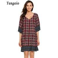 Tengeio 2017 Vestido נשים Boho שמלה מזדמן צווארון V 3/4 שרוול פרחוני בגדי שמלת חוף בציר אתני בוהמי המותניים XXL 840