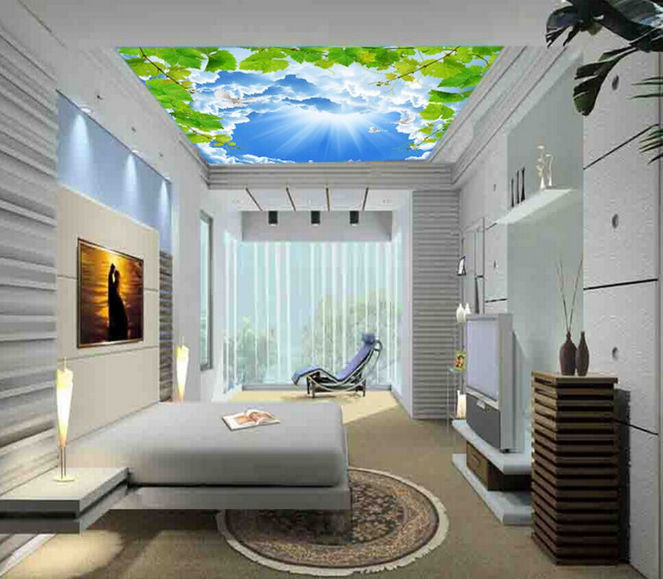 The New Blue And White Dove Custom Shipping Leafy Vine Roof Ceiling  Frescoed Ceilings Wallpaper Murals In Wallpapers From Home Improvement On  Aliexpress.com ...