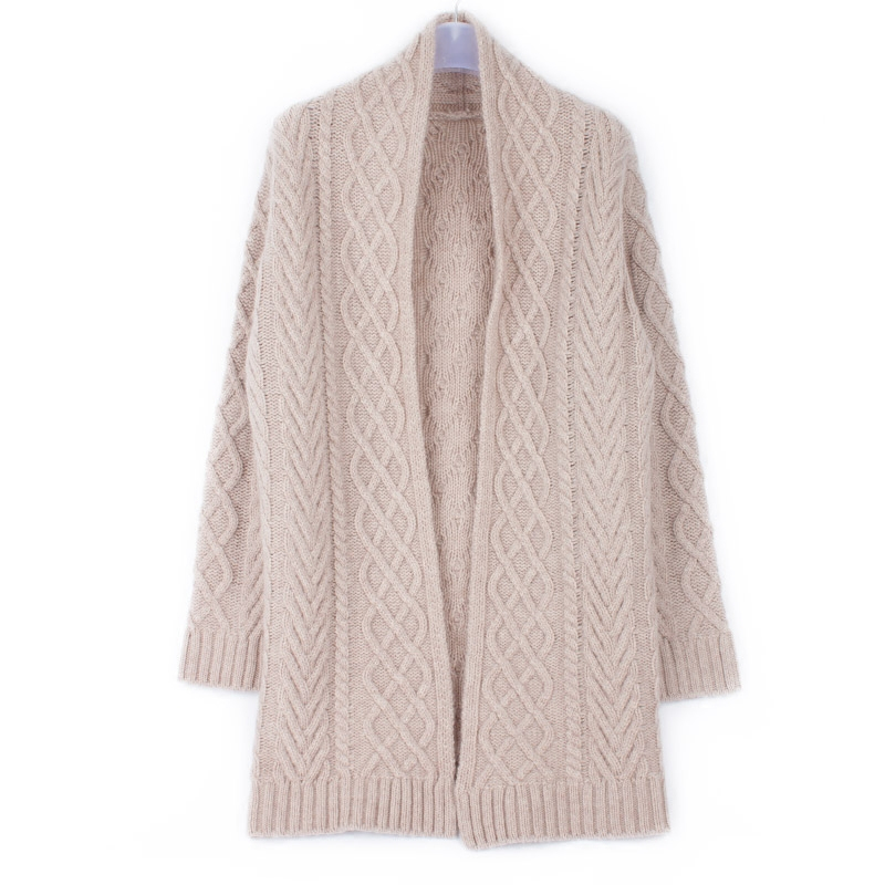 d8bae5f6bf high grade 100%goat cashmere add thick twisted knit women s boutique cardigan  sweater light tan 3color M L-in Cardigans from Women s Clothing    Accessories ...
