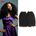 Sleek  Brazilian Remy Afro Kinky Virgin Hair 3pcs Brazilian Short Natural Black Kinky Curly Afro Curl Human Hair Weave 10-20inch